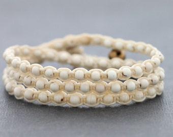 Total White Wrap Beaded Bracelet Anklet
