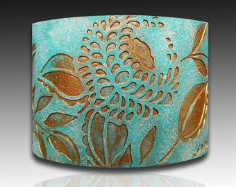 Bronze and ice blue dandelions polymer clay cuff bracelet