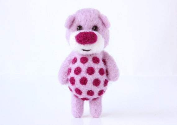 Warm light pink totem pocket bear with deep rose polka dots 52