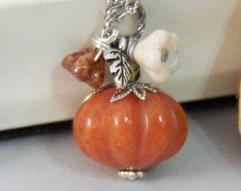 Pumpkin Blossom,Necklace,Silver Necklace,Antique Necklace,Jade,Pumpkin,Orange,Leaf,Fall,Halloween. Handmade jewelery by valleygirldesigns.