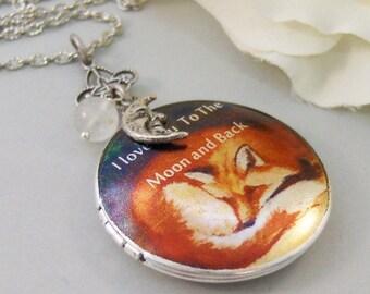 Fox's Moon,Locket,Silver Locket,Locket Art,Art Locket,Fox,Sleep,Red,Moon,Mom,Antiqued Locket,Love. Handmade jewelry by valleygirldesigns.