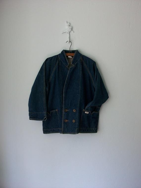 90's Jean Jacket ... Vintage Denim Bouble Breasted Slouch Blazer ... Medium / Large