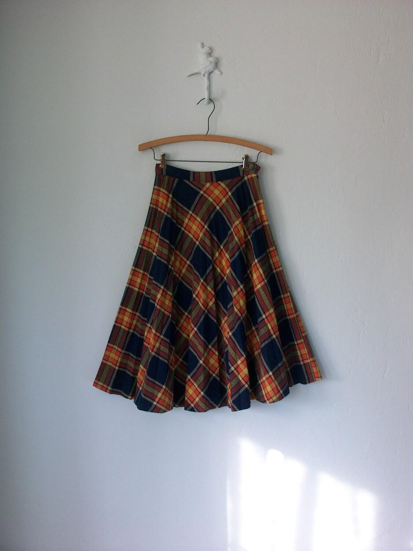 collegiate plaid skirt vintage 60s navy blue tartan plaid