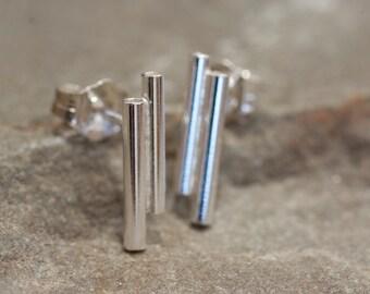 Tube Studs in Sterling Silver, Tube Earrings, Silver Tube Earrings, Modern Earrings, Simple Stud Earrings, Simple Post Earrings, Minimalist