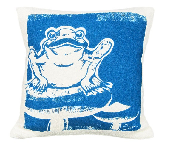 Decorative Pillow, Cushion, Navy Frog/Mushroom design, 10x10, Silk screened on Cotton bark cloth