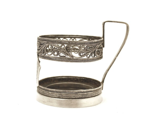 Vintage glass holder, Russian podstakannik, filigree