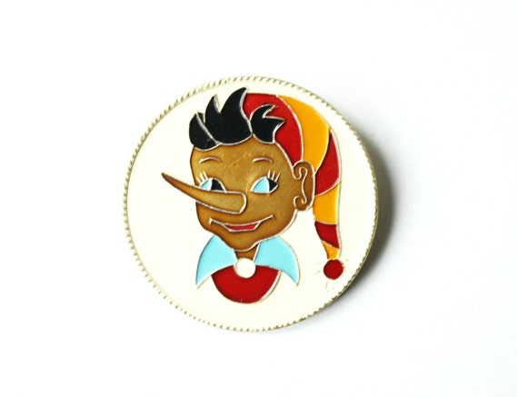Pinocchio Brooch, Vintage pin from Soviet Union Russia