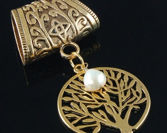Scarf Pendant - Antique Gold Tree of Life with Freshwater Pearl Scarf Jewelry