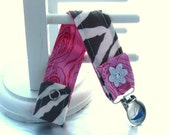 Pacifier Clip with Snaps Double Sided - zebra with pink