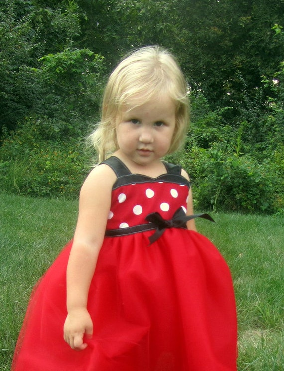 Minnie tutu dress: red & white polka dots with black middle, birthday party or parks trip, easy on and off, adjustable, meet and greet