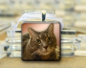 Personalized Pet  Photo Glass Pendant Necklace #184