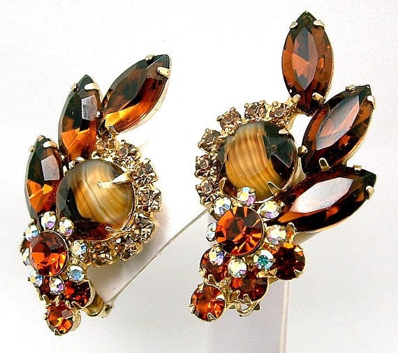 Vintage Juliana Earrings Striped Art Glass & AB Rhinestone DeLizza And Elster Book Piece
