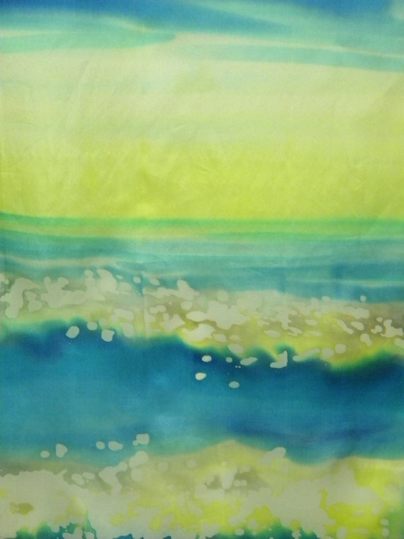 Wave hand painted silk scarf. Batik silk scarf blue, bright yellow and white with splashing sea