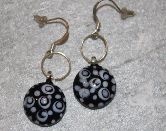 Lampwork Glass Black and White Earrings on French Wire