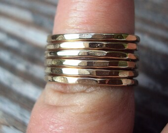 Set of 7, Gold rings,14kt rose gold or yellow gold fill, stacking bands, 16g thick