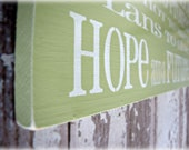 Hope and a Future Typography Sign- Shabby Chic Christian- Bible Verse Wall Hanging-Apple Green