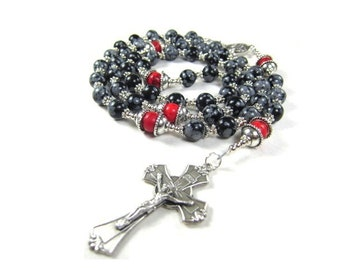 Black Rosary Bead Necklace in Snowflake Obsidian Gemstone and Red Turquoise