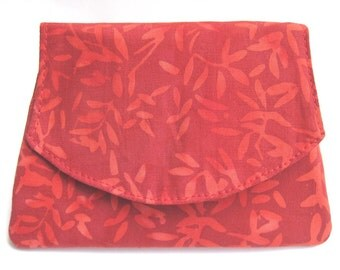 Red Leaves on Red Small Batik Wallet