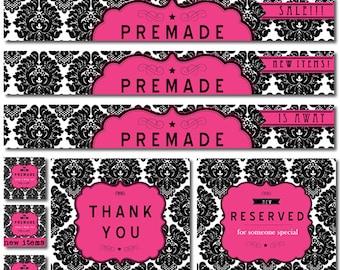 premade etsy shop set banner set avatar etsy store banners vintage label damask black white damask chic hot pink vintage modern dollhouse furniture 1200 etsy
