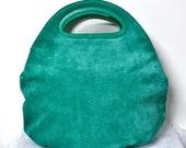 BOTTEGA VENETA Vintage Clutch Oversized Green Embossed Suede Folding Tote - AUTHENTIC -