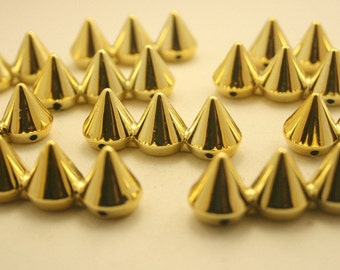 10 pcs Acrylic Gold Cone 3 Spikes Beads Charms Pendants Decoration Finding. 3SP2