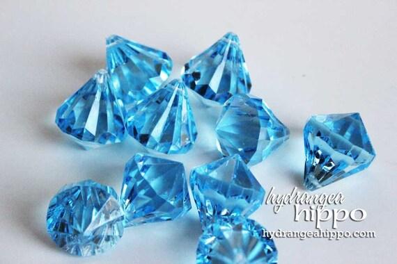 Blue Cyan - 1 inch - Tear Drop Chandelier Style Beads - 10 pieces Bling