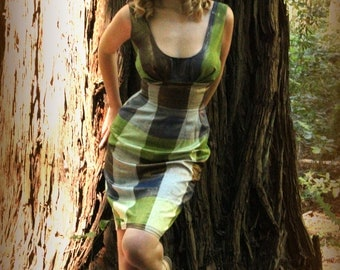 Custom Couture Iridescent Plaid Silk Wiggle Dress