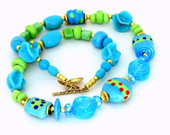 Gypsy Chic Glass Bead Necklace. Hippie Bohemian Lampwork Jewelry. Fun Funky and Colorful Jewelry.