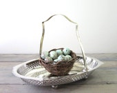 Footed Silver Plate Basket with Decorative Edging