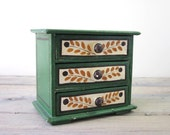 Chippy Green Wood Child's Chest of Drawers - Curio Box