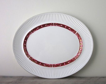 Vintage White Ironstone Platter with Red and Gold Trim Johnson Bros.