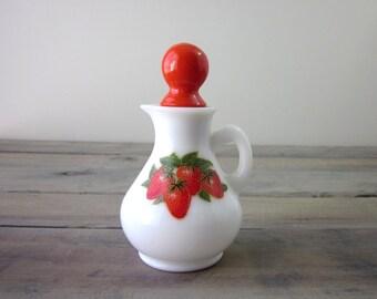 Milk Glass Strawberry Decanter Avon