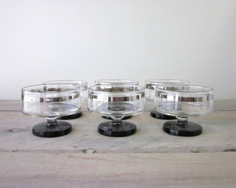 Vintage Glass Compotes with Silver Plate Trim and Smokey Glass Bases Set of Six
