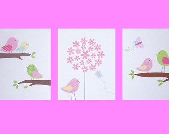 Nursery Decor, Kids Wall Art, Baby Girl, Children's Room Decor, Pink, Yellow, Blue, Bird, Hayley's Girls, Set of 3, Art Prints