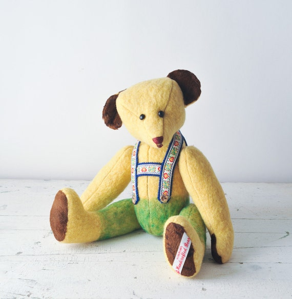 Vintage Mohair Jointed Teddy Bear - aka Sammy - Ribbon Lederhosen - Handcrafted Hildebear