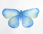 """blue butterfly archival print of original 5"""" x 7"""" watercolor painting"""