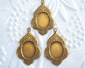 Antique brass 10x8mm cabochon cameo setting lot of (3) -TF99