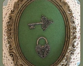 Vintage Lock and Key, Key and Lock, Mid Century Retro, 70s Home Decor, 1970s Wall Hanging, Heart Lock, Baroque, Key Olive Green Ornate Frame