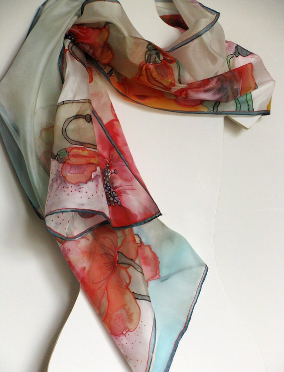 Silk scarf hand painted - dyed - on ponge silk - Poppy - 45x180