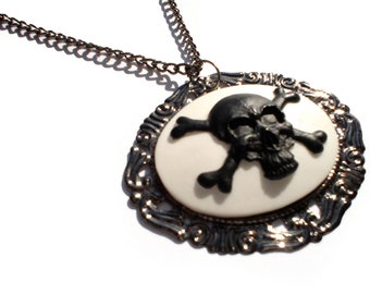 Skull and Crossbones Black Skull Cameo Necklace /  Skull Cameo includes gunmetal chain