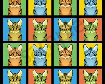 Egyptian Mau Cat Cartoon Pop-Art T-Shirt Tee - Men's, Women's Ladies, Short, Long Sleeve, Youth Kids