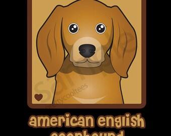 American English Coonhound Cartoon Heart T-Shirt Tee - Men's, Women's Ladies, Short, Long Sleeve, Youth Kids