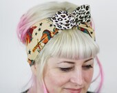 Rockabilly Reversible Wired Bow Headband, Tattoos and Leopard
