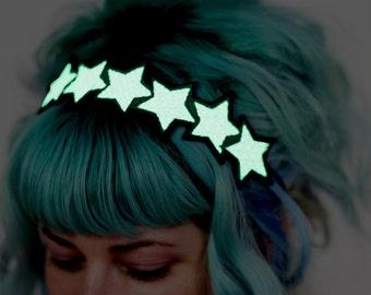 Glow in the dark Stars Headband, White, Green Glow, UV Reactive