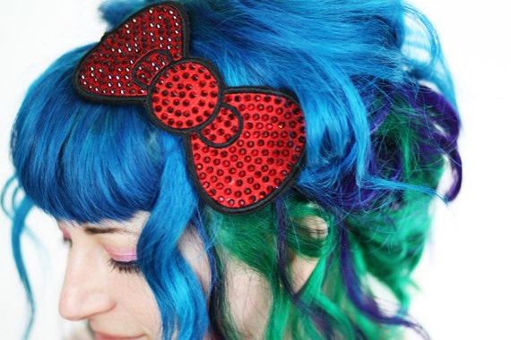 Bow Headband, Red Bow, Rhinestones