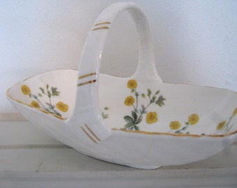 China basket, Ashley, yellow buttercups, gold trim, bone china, quite large and pretty, perfect summer centerpiece
