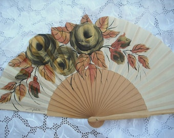 hand painted  spanish fan gold roses  FREE SHIPPING