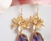 50% OFF HOLIDAY SALE - Gold Dahlia Flower - Amethyst Purple Earrings