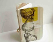 Small hand-stitched recycled notebook journal with tea box cover