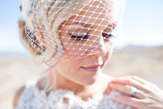 Standard 9 inch Birdcage Veil - Bandeau Style - Custom Colours Available